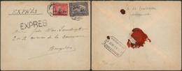 """Mixte (Albet I / J.O.) - N°145 + N°185 Sur Lettre En Expres Obl Télégraphique (bilingue) """"Grammont"""" > Bruxelles / Pli - 1915-1920 Albert I"""