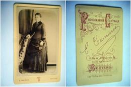 PHOTO CDV 19 EME  FEMME ELEGANTE ROBE   MODE Cabinet TANIERES A  BEZIERS - Anciennes (Av. 1900)