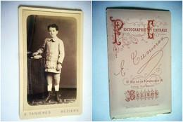 PHOTO CDV 19 EME  ENFANT CHIC  MODE Cabinet TANIERES A  BEZIERS - Ancianas (antes De 1900)