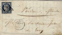 1851 - Lettre De TOUL ( Meurthe.et Moselle) Cad T15 Affr. N°4 ( 4 Marges ) Oblit. Grille Pour Verdun - 1849-1876: Periodo Clásico