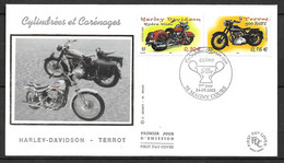 FRANCE FDC Premier Jour 3509 3514 Motos TERREAU HARLEY DAVIDSON 14/09/2002 MAGNY COURS  . - 2000-2009