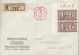 SCHWEIZ  2x 416 MeF, Auf R-Brief, Mit Sonderstempel: 100 Jahre Scheiz. Postmarken Zürich 1.III.1943 - Storia Postale
