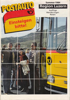 SCHWEIZ Postauto, PTT-Bus, Region Luzern, Fahrpläne, Routen, Ausflüge Und Wandervorschläge, Sommer 1984 - Europa
