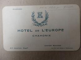 Carte De Visite Et Excursions (voir Dos) 14/8,5 Cm De L'hôtel De L'Europe à Chamonix (74). - Visiting Cards