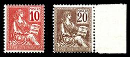 N°112/13 ** Mouchon: 10c Rose Et 20c Brun-lilas, Les 2 Ex TB - 1900-02 Mouchon