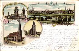 Lithographie Schwerte Im Ruhrgebiet, Altes Rathaus, Ev. Und Kath. Kirche, Kaiser Wilhelm Denkmal, Panorama - Other