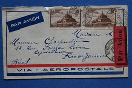 W4 FRANCE  BELLE LETTRE  1931 PAR AVION   RIO BRESIL + PAIRE HORIZ. 2 T.P VIA AEROPOSTALE   + AFFRANCH. INTERESSANT - 1927-1959 Brieven & Documenten