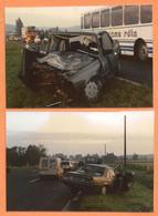 LOT DE 2 PHOTOS ORIGINALES 1988 FLIZE ARDENNES - ACCIDENT DE VOITURE PEUGEOT 505 GTD TURBO - BUS CAR AUTOBUS - CRASH CAR - Cars