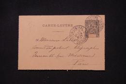 INDOCHINE - Entier Postal Type Groupe ( Carte Lettre ) De Saigon Pour Paris En 1897 - L 100756 - Storia Postale