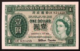 HONG KONG 1 DOLLAR $ PICK#324 GOVERNO DI HONG KONG QEEN ELIZABRTH II 1959 Fds Unc LOTTO 2481 - Hong Kong