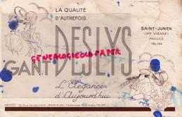 87 - SAINT JUNIEN - BUVARD GANTERIE GANTS DESLYS- 10 RUE LOUVOIS PARIS - GANT COURSES HIPPIQUES HIPPISME TIERCE - G
