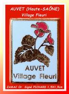 """SUPERBE CREATION ZAMAC Or Village FLEURI """"AUVET"""" : Signé PICHARD Superbe Pin's D'AUVET (70) """"VILLAGE FEURI"""" 1,5X1,9cm - Villes"""