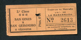 "Ticket De Tramways Barcelone Début XXe ""Tranvias De Montana - Linea De La Rabassada - Barcelona - 0.40 Ptas"" - Europe"