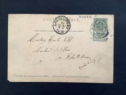 POSTKAART Wapenschild- 5c Gestempeld RELAIS ROSEE - 1893-1907 Coat Of Arms