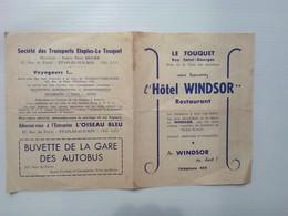 Fiche Horaire Et Publicitaire De La Sté Des Transports ETAPLES LE TOUQUET (hôtel Windsor) - Europa