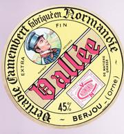 ÉTIQUETTE DE FROMAGE -  CAMEMBERT   VALLÉE - VÉRITABLE CAMEMBERT 45% BERJOU ORNE - Cheese