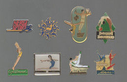 PINS PIN'S SPORTS  GYMNASTIQUE GYM NERGI GIONO DOLLY UNSS TROPHEE MASSILIA DOUWE EQUILIBRANCE  LOT 8 PINS - Ginnastica