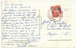Sur CPSM LACAUNE Vers BEZIERS : MARIANNE GANDON OBLITERATION AMBULANT FERROVIAIRE MURAT A CASTRES EN 1953 - Correo Ferroviario