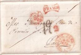 1844 - ESPAGNE - ENTREE ESPAGNE PAR ST JEAN DE LUZ - LETTRE PORT PAYE FRANCO ! De HUELMA => PARIS - ...-1850 Vorphilatelie
