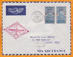 1937 - Envel De Cotonou, Dahomey, AOF Vers Paris Par 1er Voyage AEROMARITIME AIR FRANCE Côte Occidentale - Storia Postale