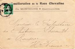 """Enveloppe à En-tête """" Amélioration De Le Race Chevaline """" Affr. 5 C Semeuse PERFOREE - 1877-1920: Periodo Semi Moderno"""