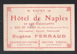 Vichy (03 Allier)  Carte De L'hotel DE NAPLES Propr Eugène Perraud  (PPP30165) - Advertising