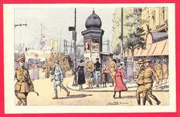 CPA-Illustrateur Julien T'FELT- ROUEN-Temps De Guerre- Le Quai De La Bourse *1916 *Quais Navire-Hôpital* 2 SCANS - Other Illustrators