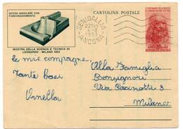 MOSTRA DELLA SCIENZA E TECNICA LEONARDO - MILANO 1953 - DIFESA ANGOLARE......... - Intero Postale - VIAGGIATA - Entiers Postaux