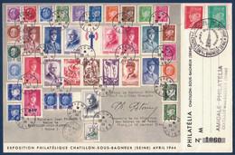 FRANCE - LETTRE 1944 EXPOSITION PHILATÉLIQUE DE CHATILLON SOUS BAGNEUX SEINE Avec PÉTAIN N° 511 ET 513 - 1941-42 Pétain