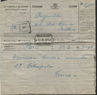 Télégramme Avec Double Obl. Télégraphique BXL CENTRAL 1924 Et BXL Q. LEOPOLD Le Lendemain. Telegraaf. Curieux (x299) - Telegraph