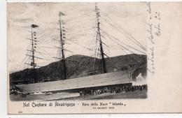 """CANTIERE DI RIVATRIGOSO - VARO DELLA NAVE """"JOLANDA"""" - GENOVA - VIAGGIATA - Genova (Genoa)"""