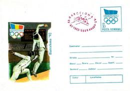 ROMANIA - 1992 ARAD Olimpiadi Barcelona Busta Postale Con Impronta Cerchi Olimp. Scherma Annullo Rosso Canotaggio -5032 - Verano 1992: Barcelona