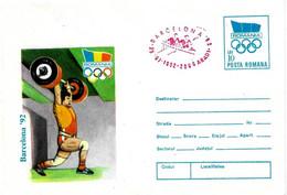 ROMANIA - 1992 ARAD Olimpiadi Barcelona Busta Postale Con Impronta Cerchi Olimp. Soll.pesi Annullo Rosso Canotaggio-5033 - Verano 1992: Barcelona