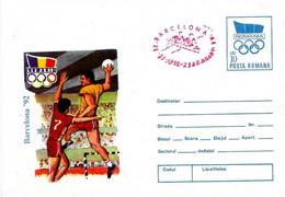 ROMANIA - 1992 ARAD Olimpiadi Barcelona Busta Postale Con Impronta Cerchi Olimp. Pallamano Annullo Rosso Canotaggio-5034 - Verano 1992: Barcelona
