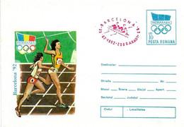 ROMANIA - 1992 ARAD Olimpiadi Barcelona Busta Postale Con Impronta Cerchi Olimp. Atletica Annullo Rosso Canotaggio -5036 - Verano 1992: Barcelona