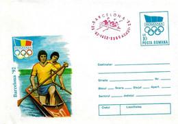 ROMANIA - 1992 ARAD Olimpiadi Barcelona Busta Postale Con Impronta Cerchi Olimpici Canoa Annullo Rosso Canotaggio - 5037 - Verano 1992: Barcelona