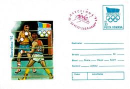 ROMANIA - 1992 ARAD Olimpiadi Barcelona Busta Postale Con Impronta Cerchi Olimp. Pugilato Annullo Rosso Canotaggio -5038 - Verano 1992: Barcelona