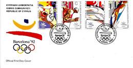 CIPRO - 1992 Olimpiadi Barcelona Serie Completa 4v. Annullo Cerchi Olimpici Su Busta Fdc - 5039 - Verano 1992: Barcelona