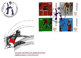 ANGOLA - 1992 LUANDA Olimpiadi Barcelona Serie Completa 4v. Annullo Giocatore Hockey Su Busta Fdc - 5040 - Verano 1992: Barcelona