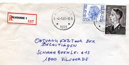 1983 Sterstempel Op R-enveloppe Van VILVOORDE 6 Naar Vilvoorde Met R-sticker Vilvoorde 1 - Lettres & Documents
