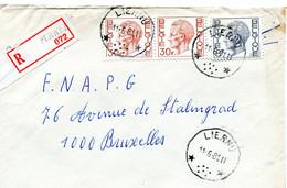 1981 Sterstempel Op R-enveloppe Van LIERNU Naar Brussel Met R-sticker Perwez - Boudewijn Zegels - Lettres & Documents