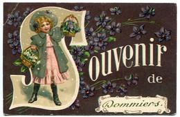 Fantaisie Gaufrée * SOUVENIR De DOMMIERS ( Petite Fille Paniers Fleurs Sur Fond De Violettes ) - Other Municipalities