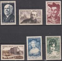 Fr(1950) Poincaré N°864+ Peguy N°865+ Rabelais N°866+ Château Chateaudun N°873+ Sévigné N°874+ Récamier N°875 Neufs ** - Nuovi