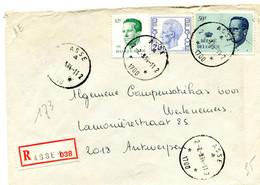 1984 Sterstempel Op R-enveloppe Van ASSE 2 Naar Antwerpen Met R-sticker Asse 1 - Diverse Boudewijn Zegels - Lettres & Documents