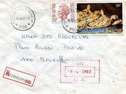 1982 Sterstempel Op R-enveloppe Van PERONNES BINCHE Naar Antwerpen Met R-sticker Peronnes - Diverse Zegels + Boudewijn - Lettres & Documents