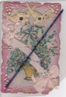 Carte Canivet Celuloïde Avec Ajouts  ,panier De Fleurs, Ruban, Colombes - Autres