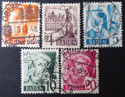Germany - Allied Occupation - French Zone - Baden - 1948 - Mi:DE-FB 28,29,30,33,34 O - Look Scan - Zona Francese