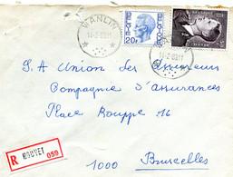 1983 Sterstempel Op R-enveloppe Van WANLIN Naar Brussel Met R-sticker Houyet - Diverse Zegels + Boudewijn - Lettres & Documents