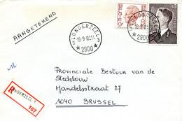 1981 Sterstempel Op R-enveloppe Van LONDERZEEL 3 Naar Brussel Met R-sticker Londerzeel 1 - Zegels Boudewijn - Lettres & Documents