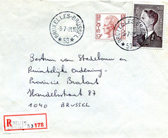 1981 Sterstempel Op R-enveloppe Van BRUSSEL 53 Naar Brussel Met R-sticker Brussel 53 - Zegels Boudewijn - Lettres & Documents